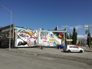 Lots of great graffiti adding colour