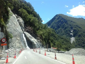 Haast Pass at site of landslide.