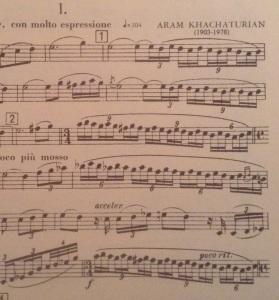Trio for clarinet, violin & piano,  Khatchurian.